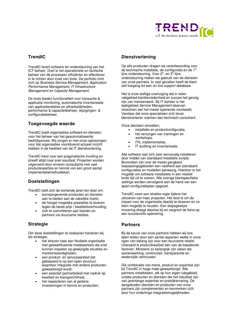 TrendIC Product Portfolio 2009