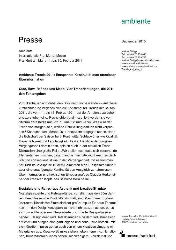Presse                                                                   September 2010Ambiente                           ...