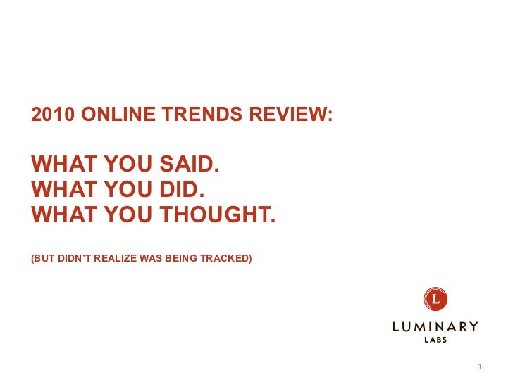 2010 ONLINE TRENDS REVIEW: WHAT YOU SAID.  WHAT YOU DID. WHAT YOU THOUGHT. (BUT DIDN'T REALIZED WAS BEING TRACKED) Andreas...