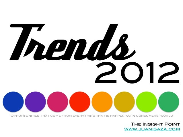 Trends     2012!             !Opportunities that come from everything that is happening in consumers' world!              ...