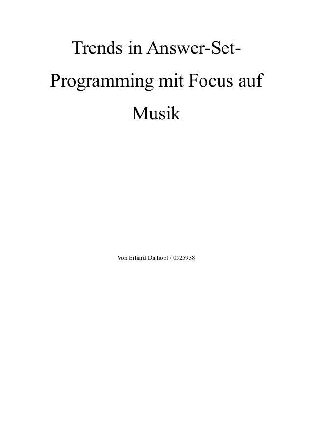 Trends in Answer-Set-Programming mit Focus aufMusikVon Erhard Dinhobl / 0525938