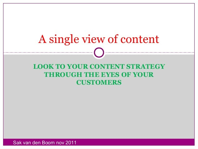 A single view of content       LOOK TO YOUR CONTENT STRATEGY         THROUGH THE EYES OF YOUR                 CUSTOMERSSak...