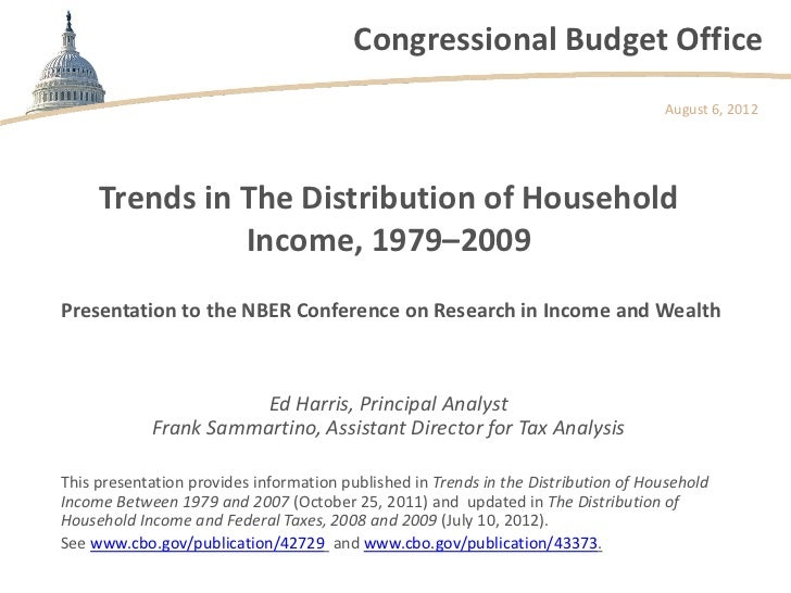 Trends in the Distribution of Household Income, 1979-2009