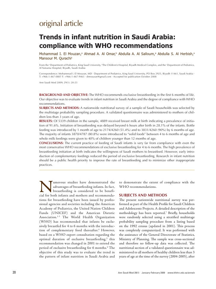 original article      Trends in infant nutrition in Saudi Arabia:      compliance with WHO recommendations      Mohammad I...
