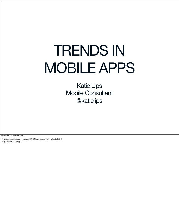 Trends in Mobile Apps (March 2011)