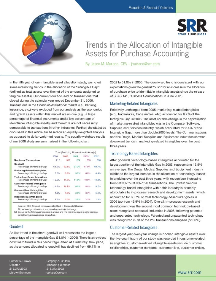Trends In The Allocation Of Intangible Assets For Purchase Accounting Article