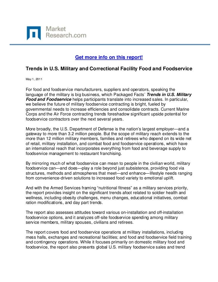 Get more info on this report!Trends in U.S. Military and Correctional Facility Food and Foods...