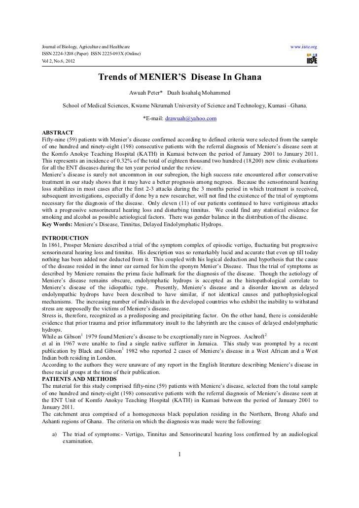 Trends of menier's  disease in ghana