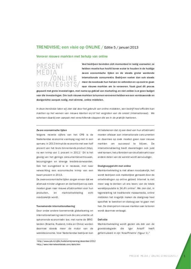 Trendvisie Verover nieuwe markten met online