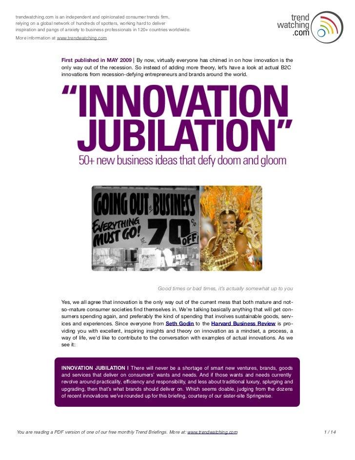 Trendwatching 2009 05 Innovation Jubilation