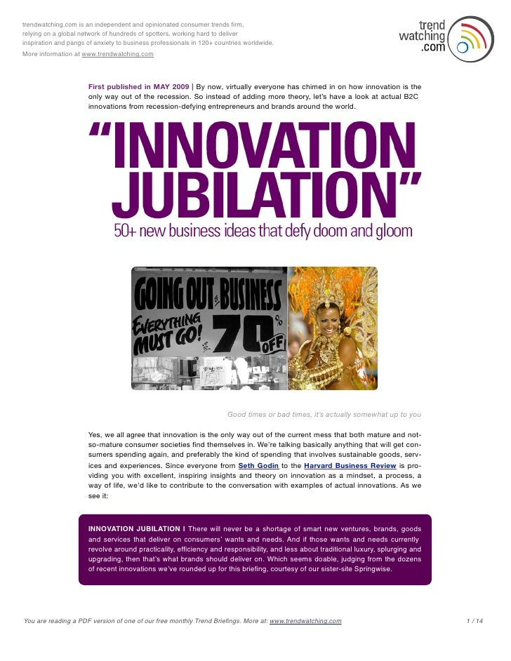 Trendwatching 2009 05 Innovation Jubilation