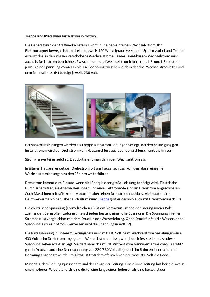 Treppe and Metallbau Installation in factory.Die Generatoren der Kraftwerke liefern I nicht nur einen einzelnen Wechsel-st...