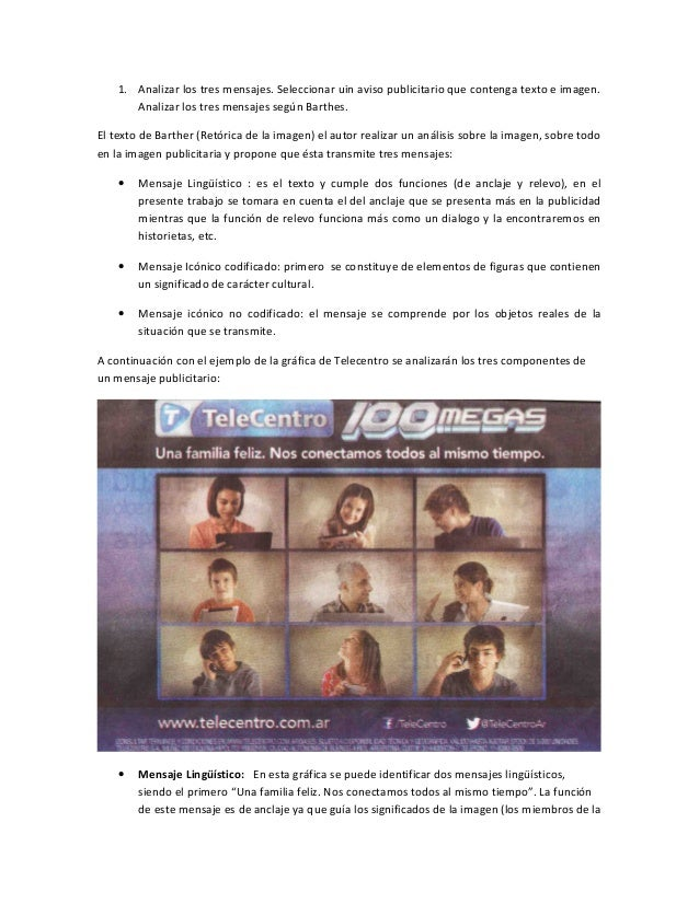 1. Analizar los tres mensajes. Seleccionar uin aviso publicitario que contenga texto e imagen. Analizar los tres mensajes ...