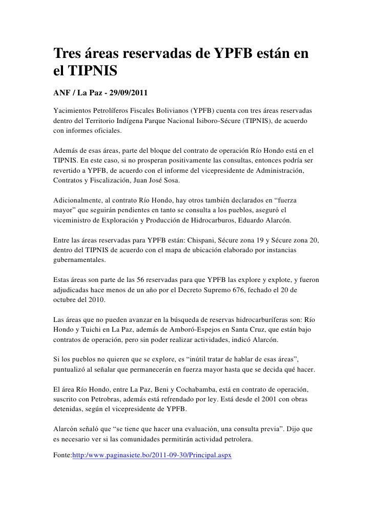 Tres áreas reservadas de YPFB están en el TIPNIS<br />ANF / La Paz - 29/09/2011<br />Yacimientos Petrolíferos Fiscales Bol...