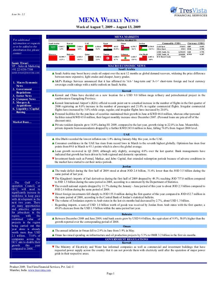 Issue No. 2.2                                                                     MENA WEEKLY NEWS                        ...