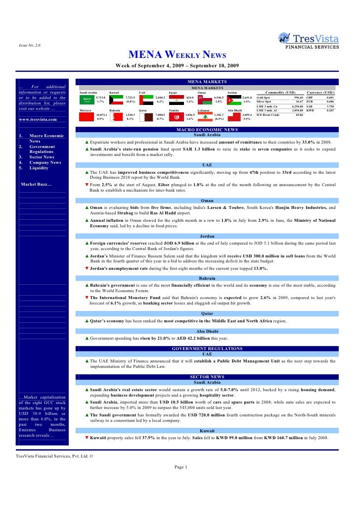 Issue No. 2.6                                                                     MENA WEEKLY NEWS                        ...