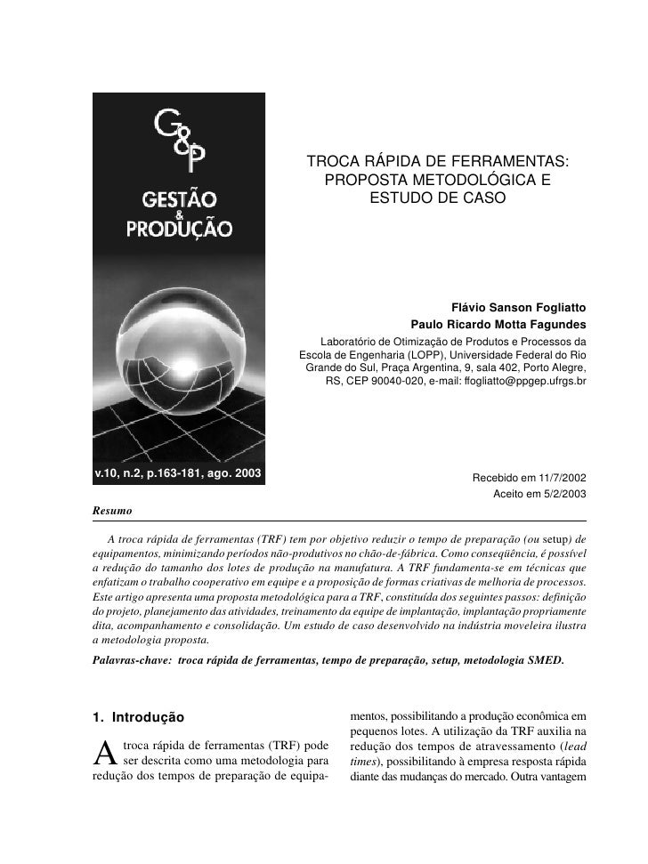 TROCA RÁPIDA DE FERRAMENTAS:                                               PROPOSTA METODOLÓGICA E                        ...