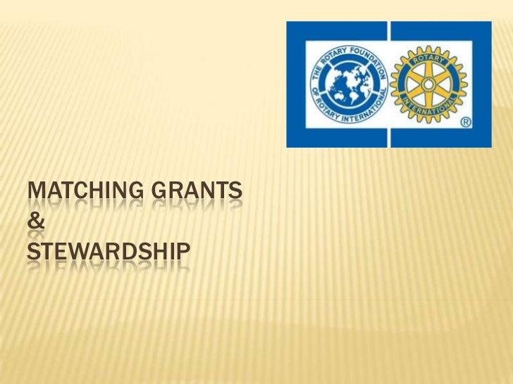 Matching Grants & Stewardship