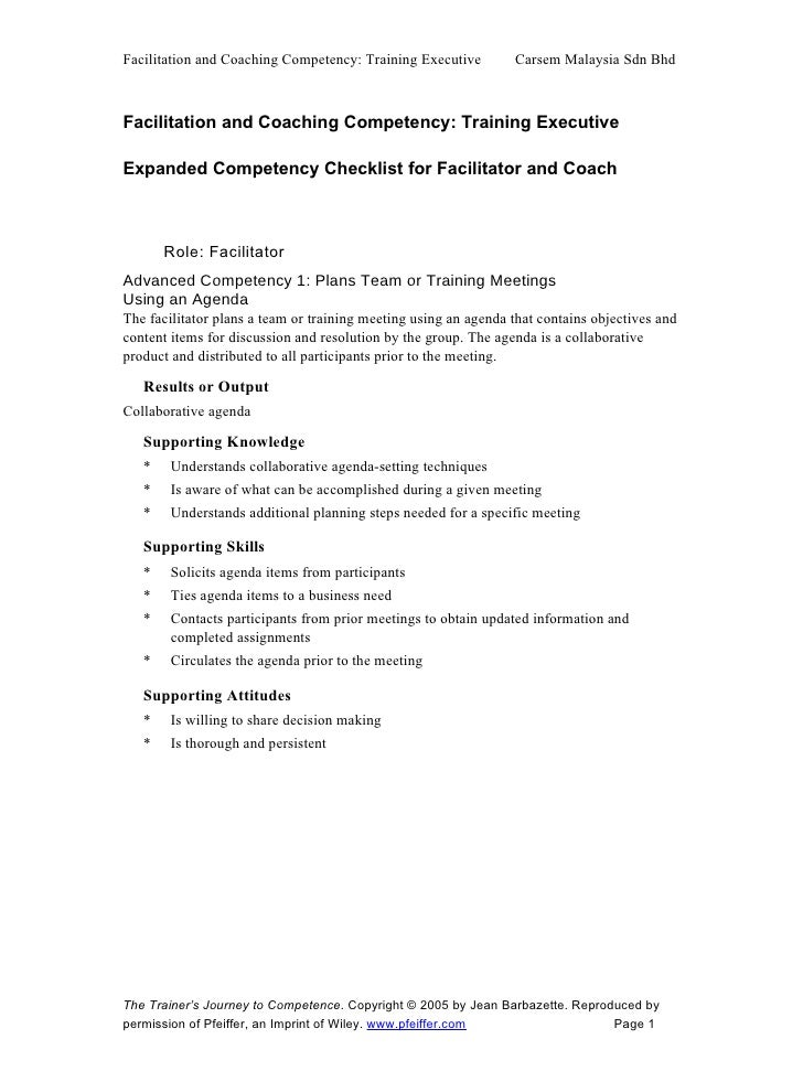 Facilitation and Coaching Competency: Training Executive         Carsem Malaysia Sdn Bhd    Facilitation and Coaching Comp...