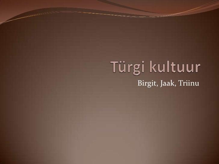 Türgi kultuur<br />Birgit, Jaak, Triinu<br />