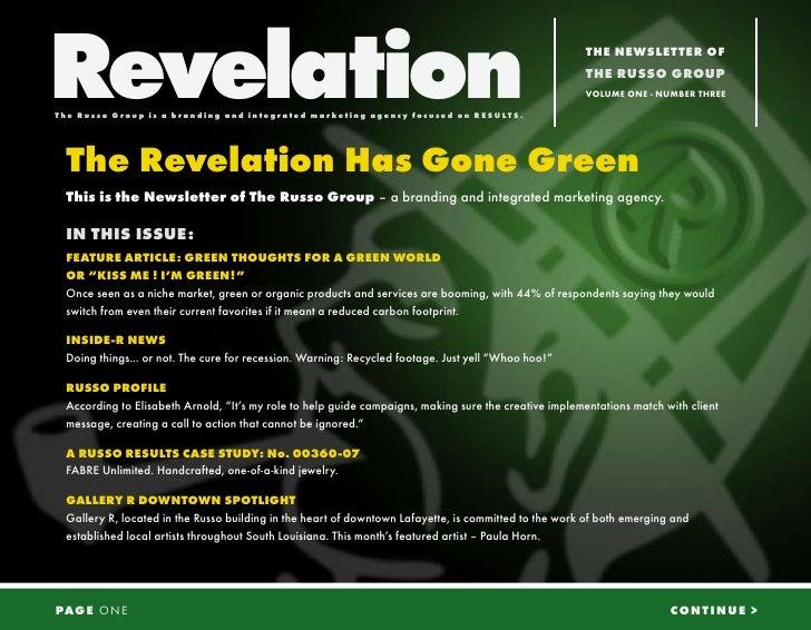 Revelation The Russo G r oup is a b r a nd i ng a nd i n t eg r a t ed ma r ket i ng a genc y f oc used on RE SU LTS.     ...