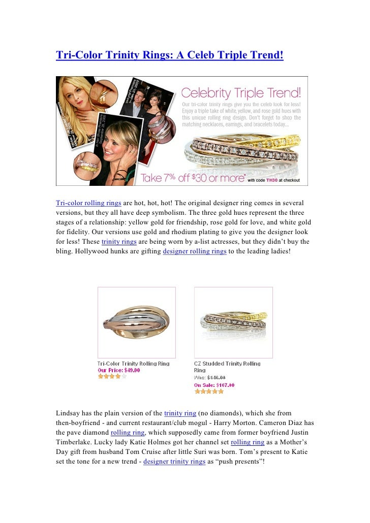 Tri-Color Trinity Rings: A Celeb Triple Trend!     Tri-color rolling rings are hot, hot, hot! The original designer ring c...