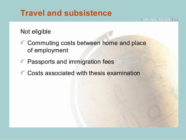 "cihr thesis expenses The cihr gong show – a ridiculous state of affairs the ""travel expense"" was offered up by cihr as one of the main (similar to how a thesis ctte."