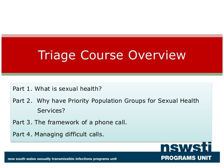 Triage  Course For Sexual Health Clinic Intake Staff Part 1
