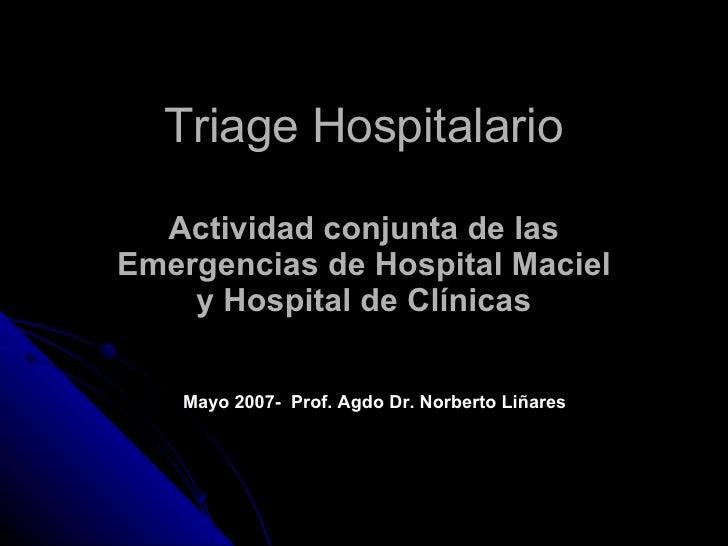 Triage Hospitalario Actividad   conjunta de las Emergencias de Hospital Maciel y Hospital de Clínicas Mayo 2007-  Prof. Ag...