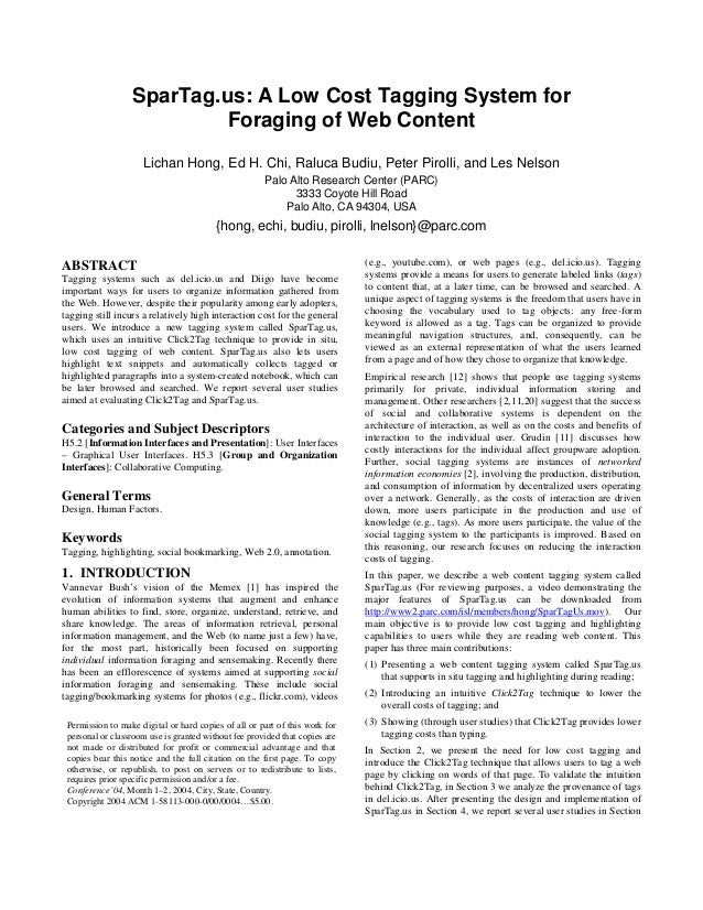 SparTag.us: A Low Cost Tagging System for                           Foraging of Web Content                     Lichan Hon...
