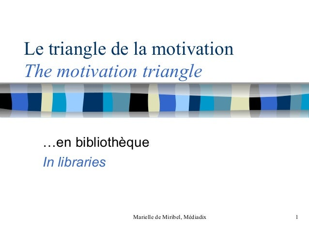 Marielle de Miribel, Médiadix 1Le triangle de la motivationThe motivation triangle…en bibliothèqueIn libraries