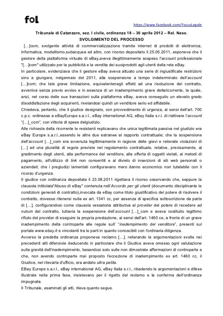 Trib. catanzaro,  ordin. 18 – 30 aprile 2012