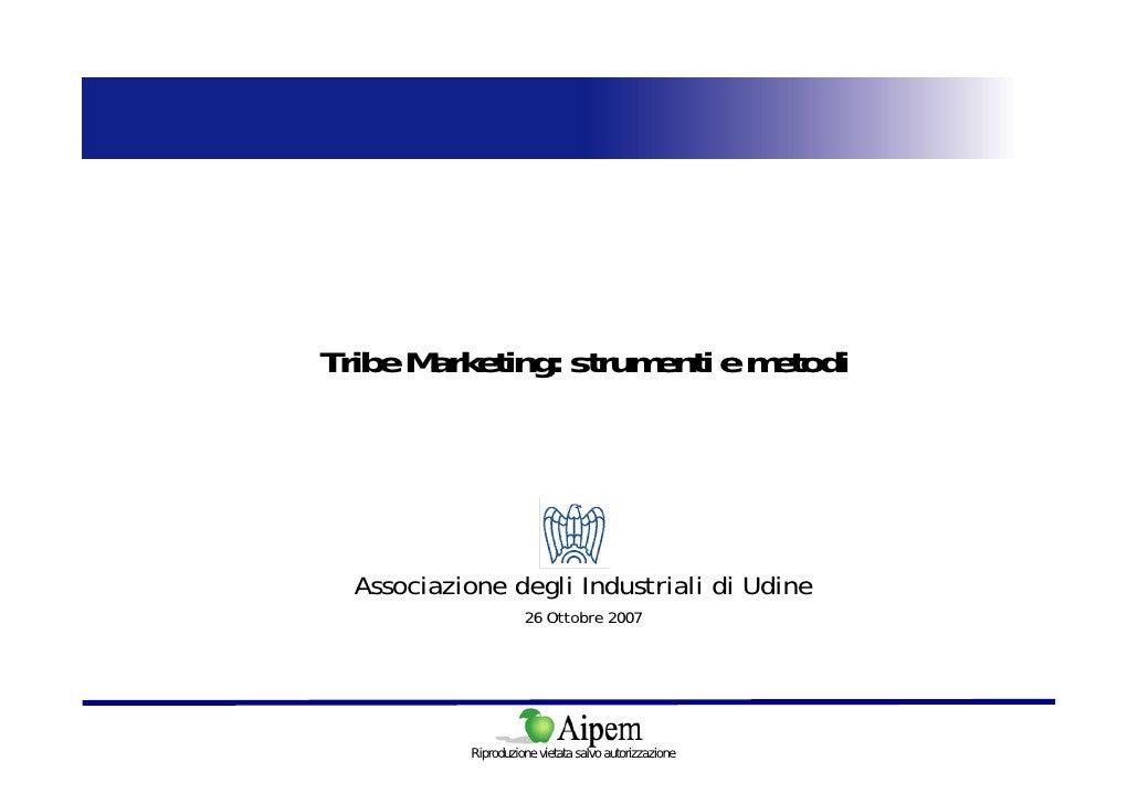 Tribe Marketing: strumenti e metodi       Associazione degli Industriali di Udine                      26 Ottobre 2007    ...