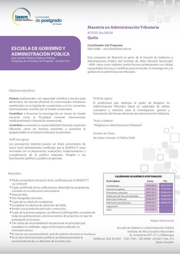 Maestría en Administración Tributaria                                                                  RCP.S01.No.038.09  ...