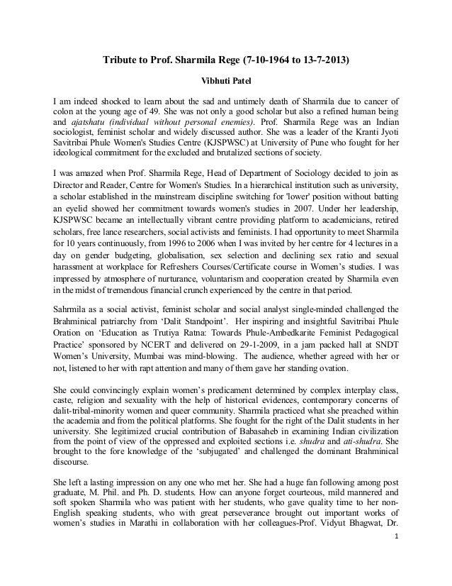 Tribute to Prof. Sharmila Rege by Prof. Vibhuti Patel 15 7-2013