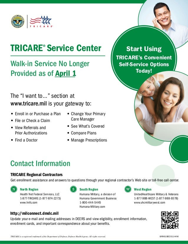 TRICARE® Service Center Walk-in Service No Longer Provided as of April 1  Start Using TRICARE's Convenient Self-Service Op...
