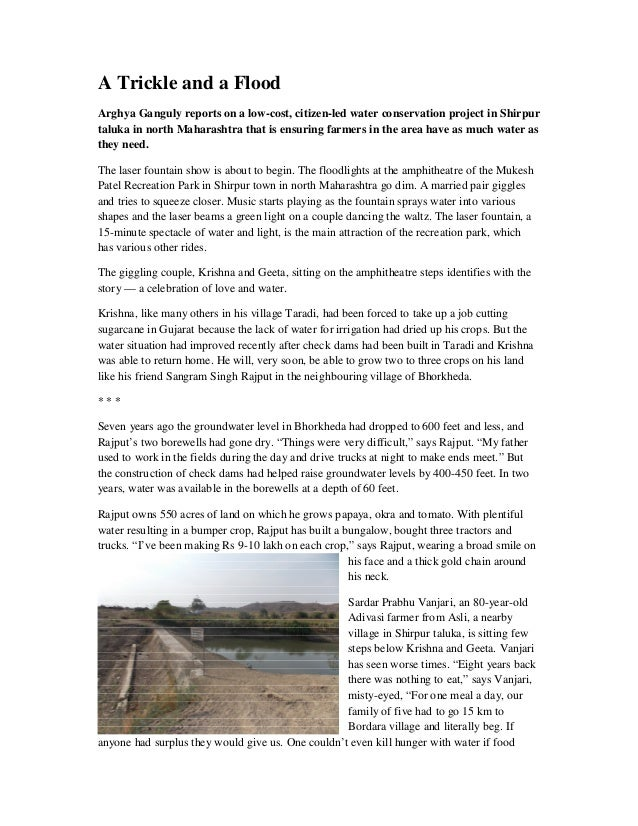 A Trickle and a FloodArghya Ganguly reports on a low-cost, citizen-led water conservation project in Shirpurtaluka in nort...