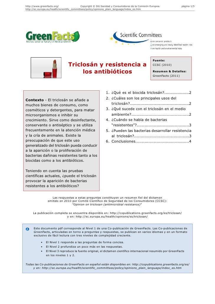 Triclosán y resistencia a los antibióticos