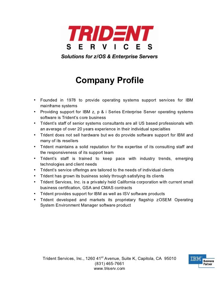 Trident Company Profile  Example Of Company Profile Template