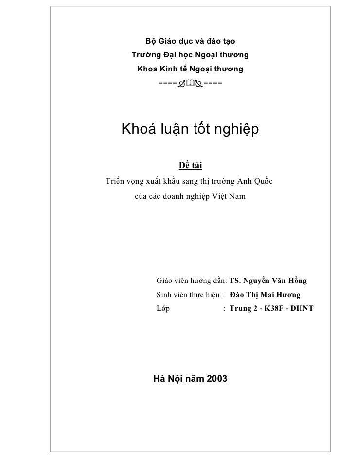 Triển vọng XK sang thị trường Anh quốc của Việt Nam