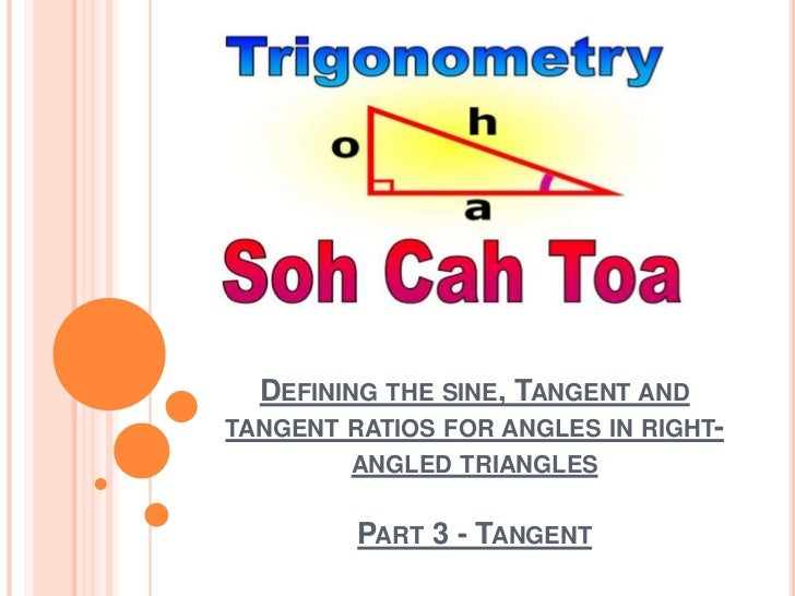 Defining the sine, Tangent and tangent ratios for angles in right-angled trianglesPart 3 - Tangent<br />