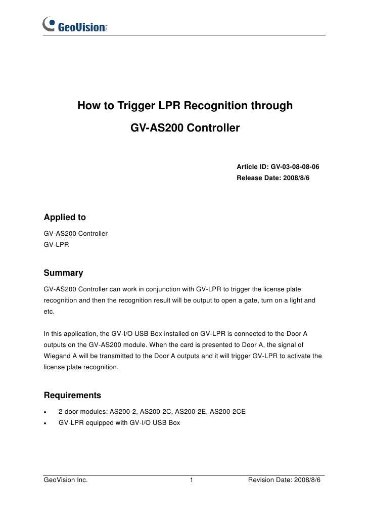 How to Trigger LPR Recognition through                             GV-AS200 Controller                                    ...