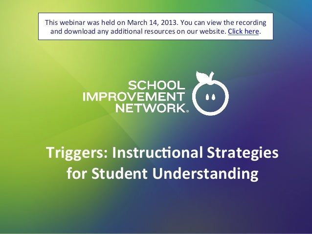Triggers: Instructional Strategies for Student Understanding