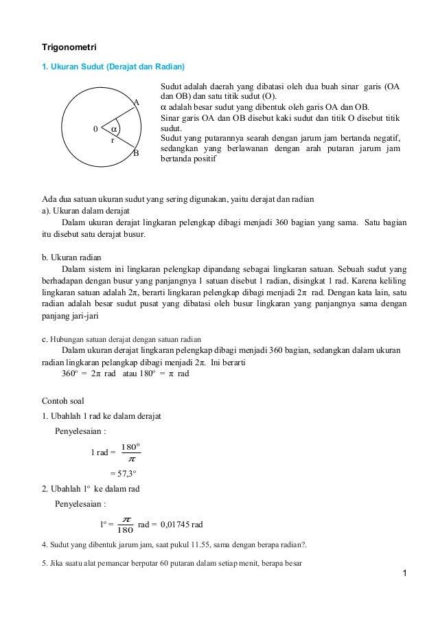 Trigonometri 1. Ukuran Sudut (Derajat dan Radian)  A α r  0  B  Sudut adalah daerah yang dibatasi oleh dua buah sinar gari...
