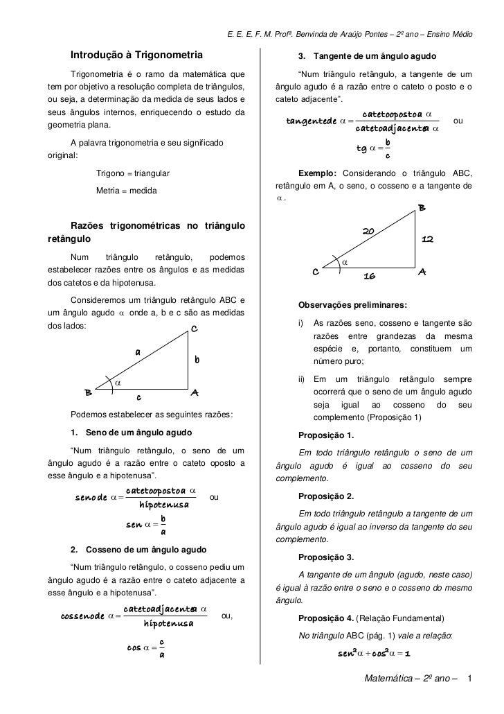 E. E. E. F. M. Profª. Benvinda de Araújo Pontes – 2º ano – Ensino Médio      Introdução à Trigonometria                   ...