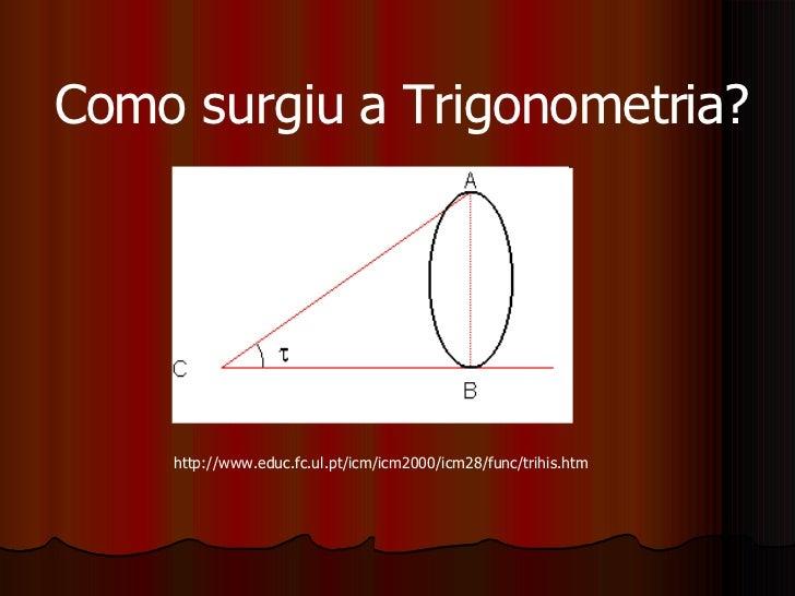 Como surgiu a Trigonometria? http://www.educ.fc.ul.pt/icm/icm2000/icm28/func/trihis.htm