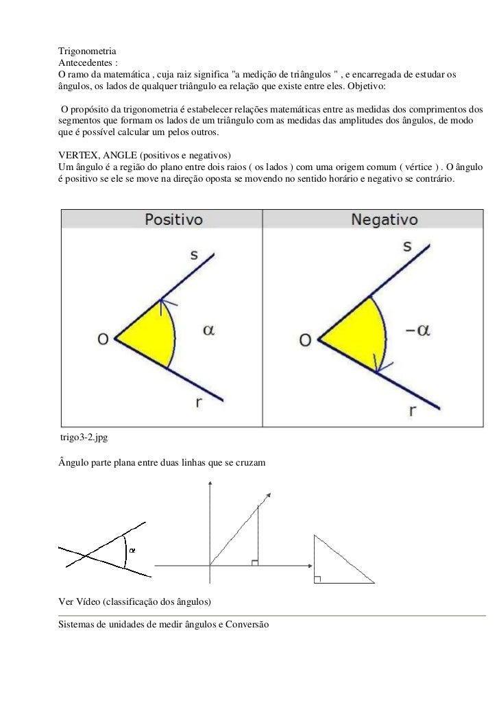 """TrigonometriaAntecedentes :O ramo da matemática , cuja raiz significa """"a medição de triângulos """" , e encarregada de estuda..."""
