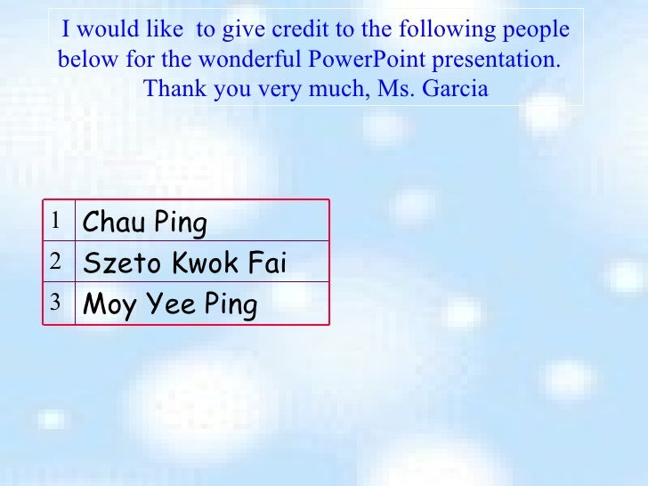 I would like  to give credit to the following people below for the wonderful PowerPoint presentation.  Thank you very much...