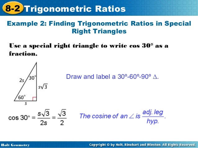 Trigonometry Special Right Triangles in Special Right Triangles