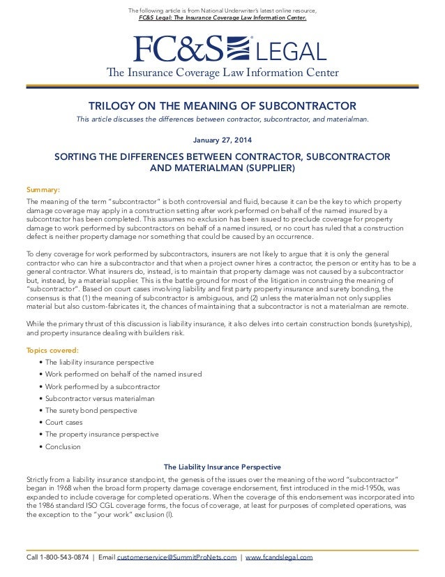 Trilogy on the Meaning of Subcontractor